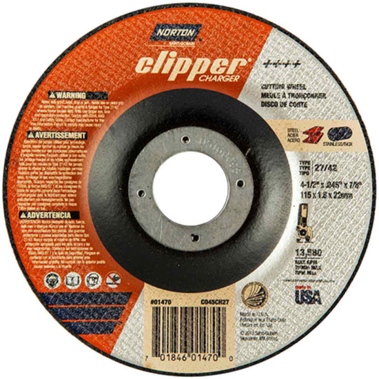Norton Charger 4-1/2 inch type 27 abrasive cut-off wheels