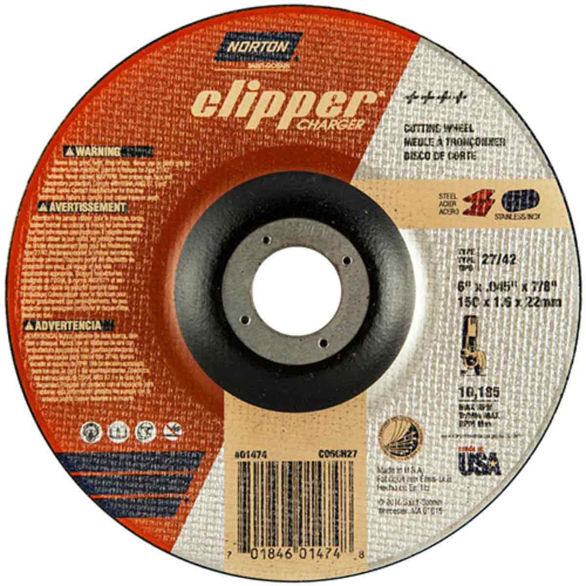 CO6CH27 Norton Charger Abrasive Type 27 Cut-Off Wheels