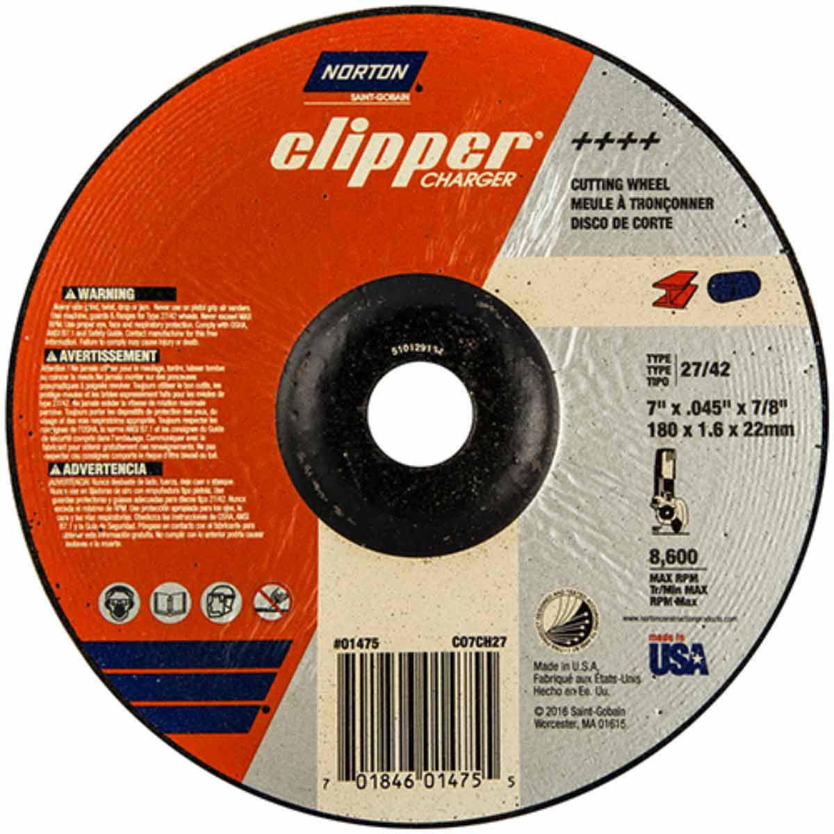 CO7CH27 Norton Charger Abrasive Type 27 Cut-Off Wheels