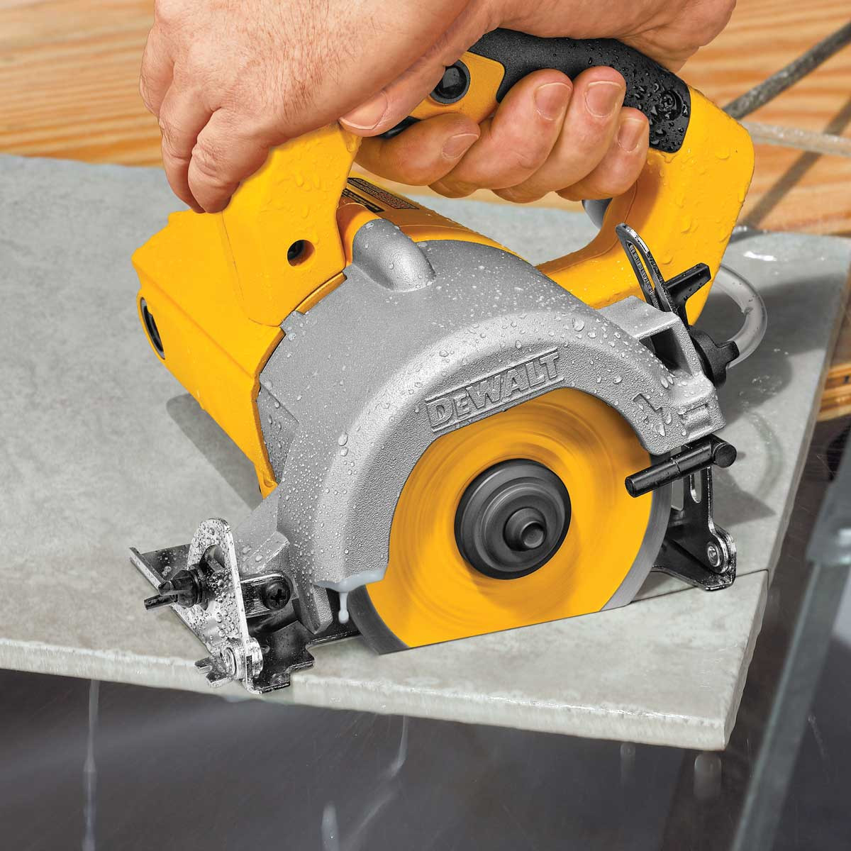 Dewalt hand-held tile saw diagonal cut