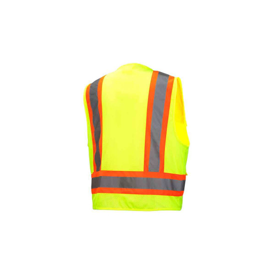 Pyramex Neon Lime Safety Vests Rear View
