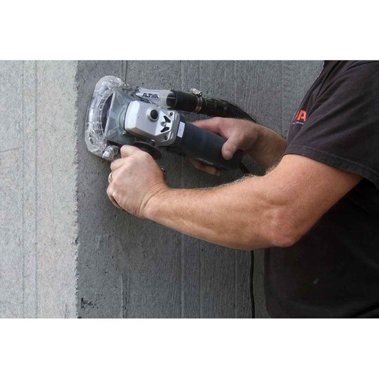 Angle Grinder with Ecoguard Grinding Concrete Walls