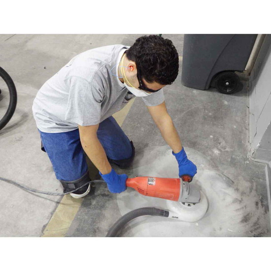 Grinding Concrete with 7 inch Dust Shroud