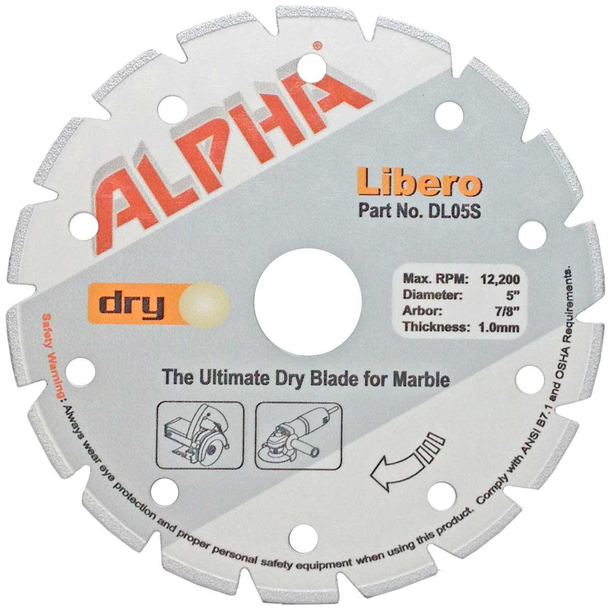 alpha libero 5in dry marble diamond blade