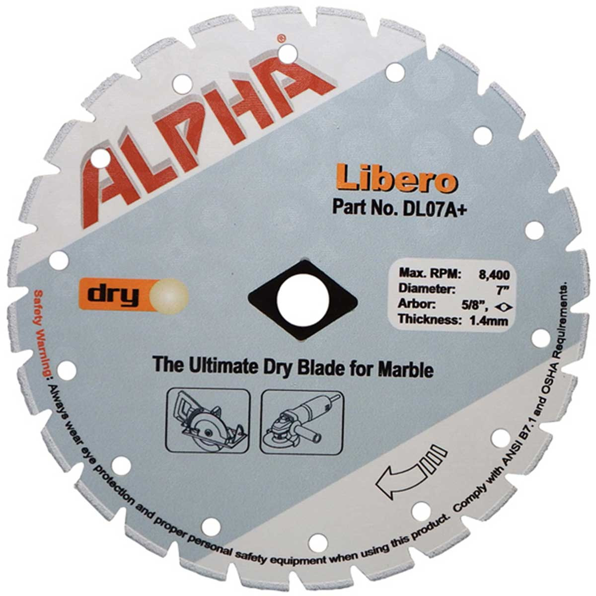 alpha libero 7in dry marble diamond blade