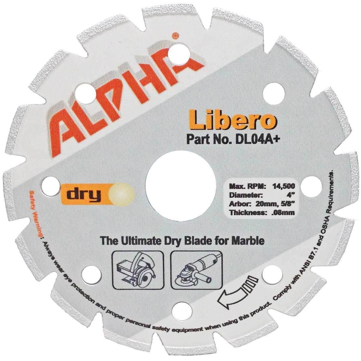 alpha libero 4in dry marble diamond blade