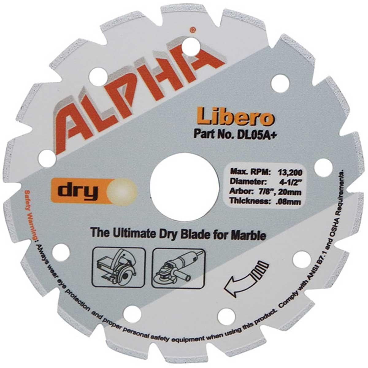 alpha libero 4 1/2in dry marble diamond blade