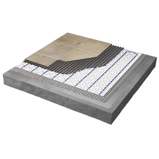 Strata Heat floor warming mat installed over a concrete floor