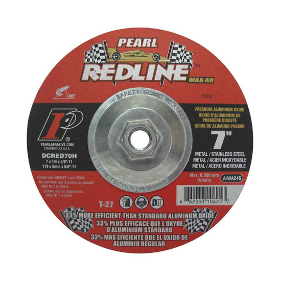 Pearl Abrasive 7 inch Redline Depressed Center Grinding Wheel