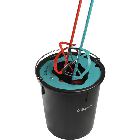 Collomix 8 Gallon MixerClean Bucket After the mixing, dip the stirrer in the bucket filled with water and let the mixer run for a short time