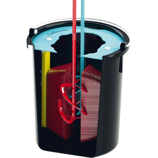 Collomix 8 Gallon MixerClean Bucket When you have finished your mixing work, immerse the mixing paddle in the bucket filled with water and run the mixer for a short time