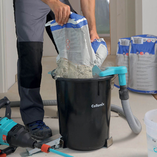 19040 Collomix dust.EX Dust Extraction for a much cleaner and more precise pouring for setting material or grout saving time on cleanup, quick attachment allows the pouring to be fast and accurate