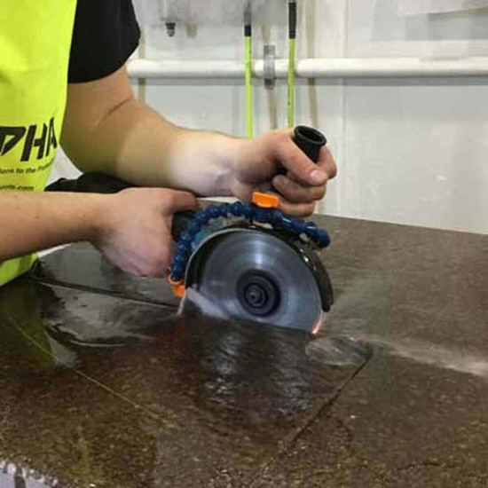 wet grinding, profiling and cutting. The wet cutting kit allows you to use wet diamond blades, expanding what you can do with just your angle grinder
