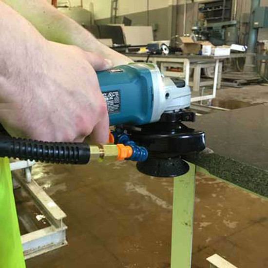 Alpha Tools Wet Blade Cutting Kit using stone router on granite slab edge for Angle Grinders