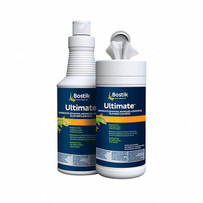 Bostik Ultimate Adhesive Remover 32 oz. bottle and towels, specially formulated to remove all Bostik urethane wood flooring adhesives