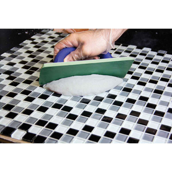 clear glass tile installation grout