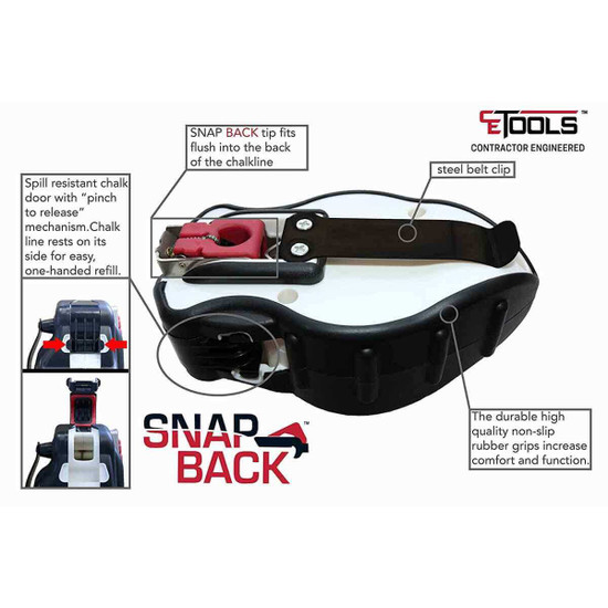 CE Tools, Inc. Snap Back Chalk Line Features