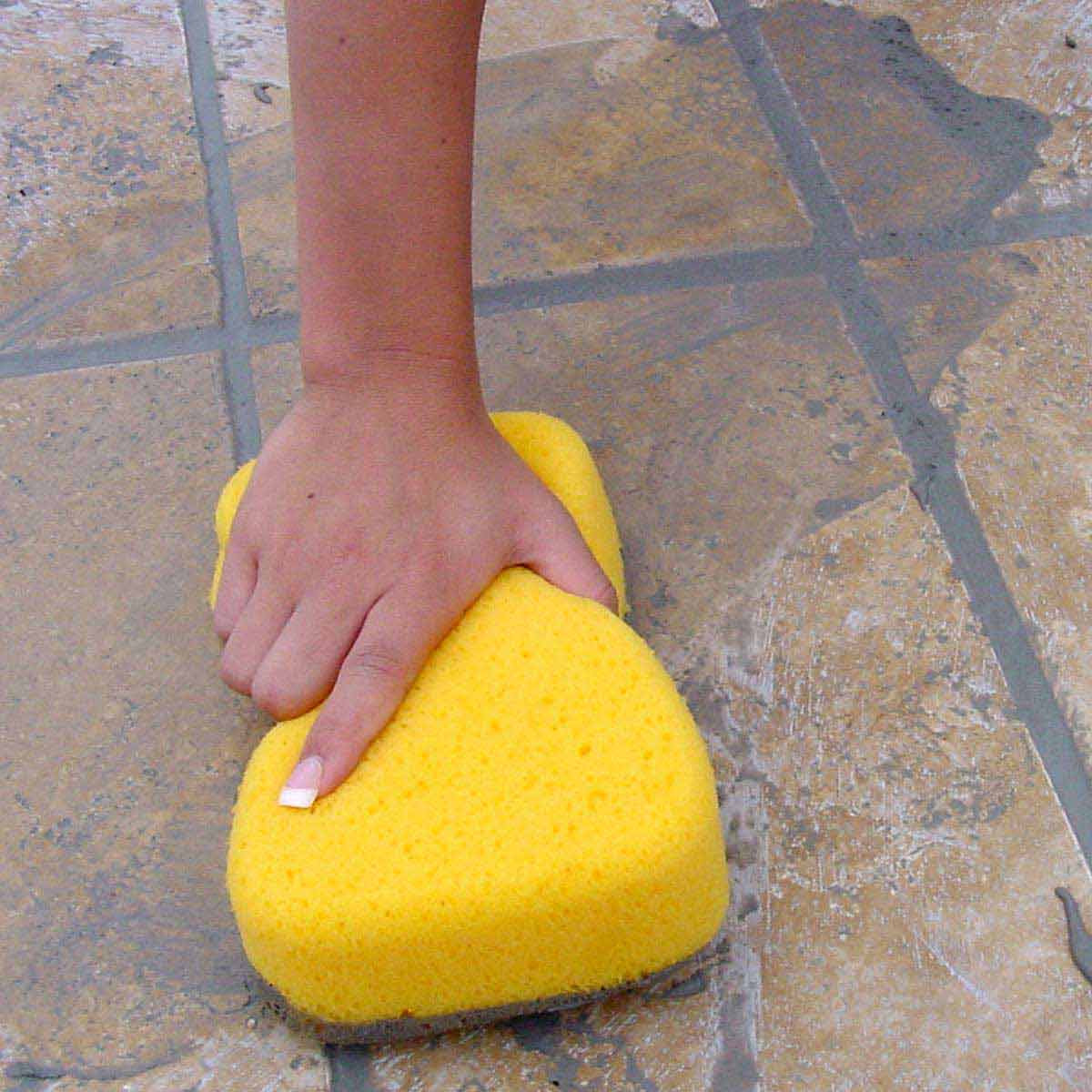Cleaning with Tile Grout Sponge
