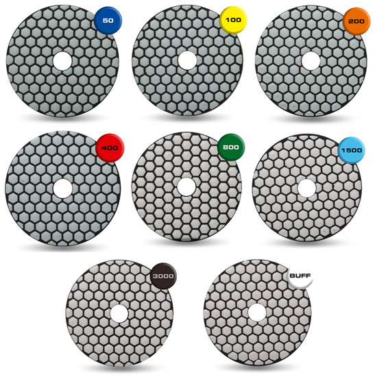 Rubi Premium Dry Polishing Pads - 8 Piece Kit