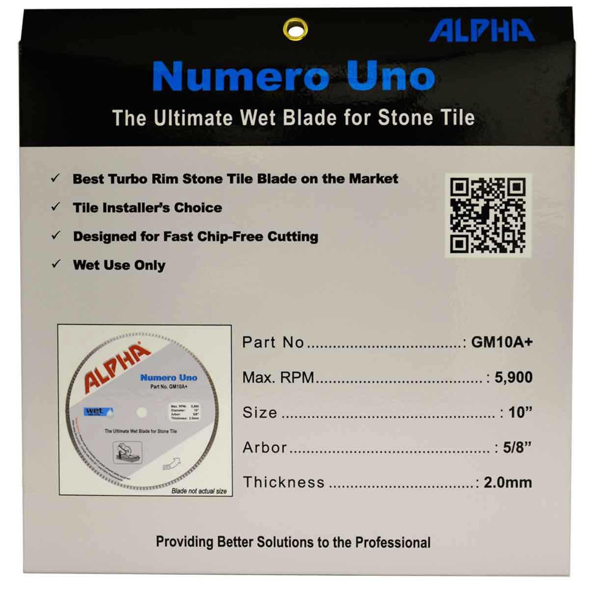 alpha numero uno diamond blade packaging