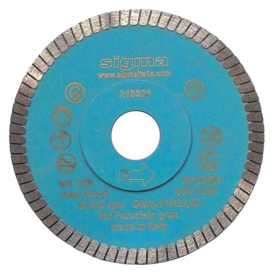 75B Sigma 115mm 4-1/2 in. Turbo Diamond Blade For use on porcelain tiles, granite thin panel tile