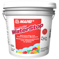 Mapelastic WaterStop is a flexible, thin, fast-drying, one-component, liquid-rubber waterproofing and crack-isolation membrane