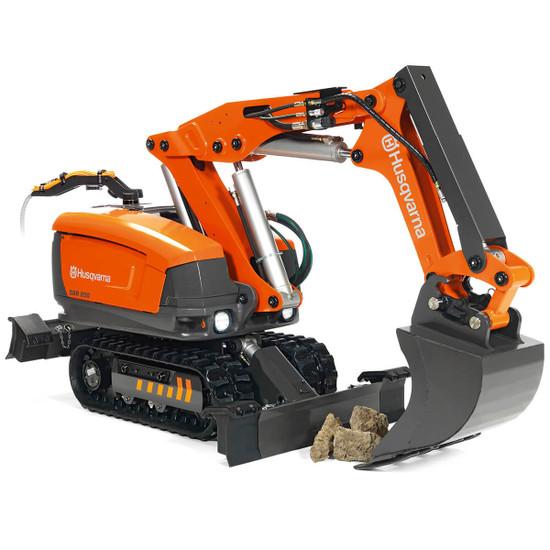 Husqvarna DXR Demolition Robot with Tool Bucket Attachment