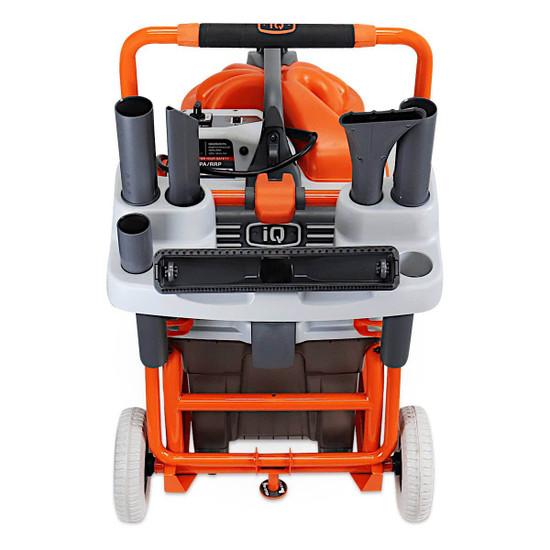 iq426hepa cyclonic hepa vacuum heavy duty cart and accessories rack