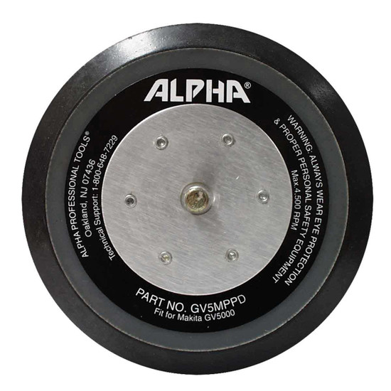 Alpha Hook and Loop Backer Pad with M8 Connection