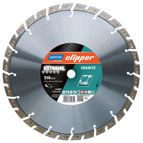 Norton clipper extreme granite blade duo-shape trapezoidal segments provide an excellent cutting speed and low vibrations