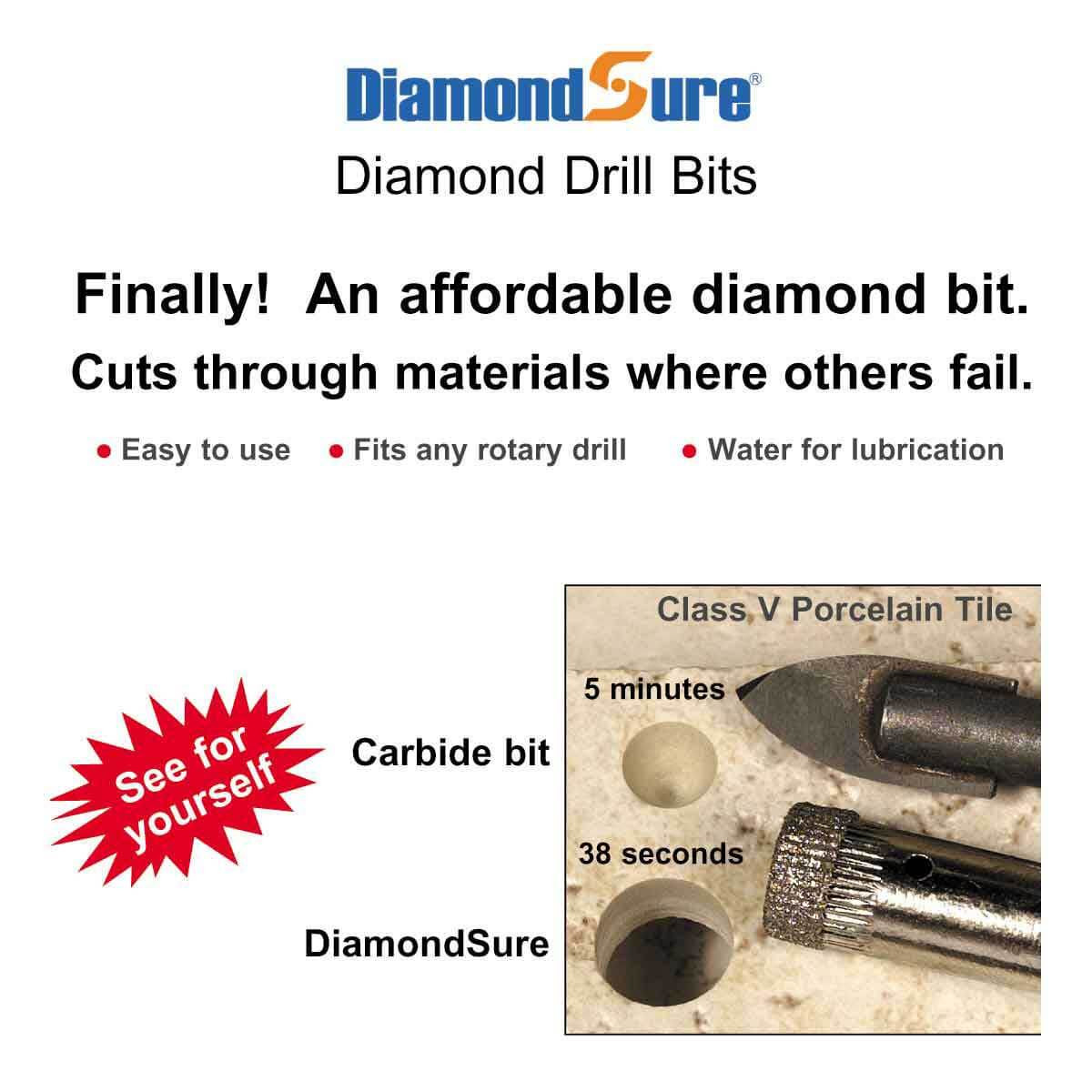 Diamondsure porcelain drill bits contractors direct high speed diamond drill bit dailygadgetfo Gallery