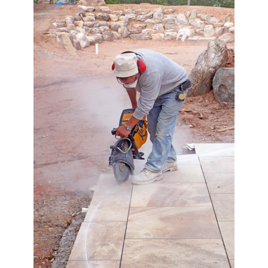 Cutting porcelain pavers with demolition saw and Alpha PT cutter