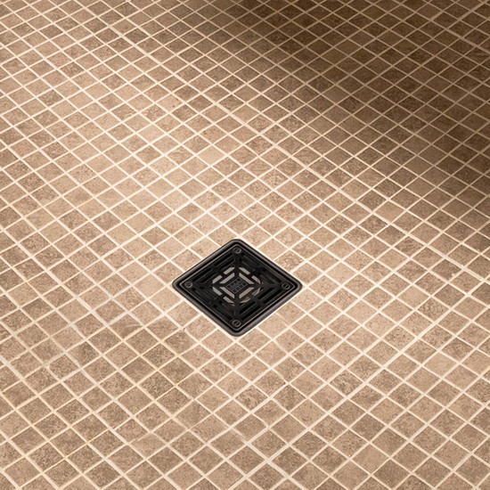 Hydro Ban Shower Installed with Oil Rubbed Bronze Drain Grate