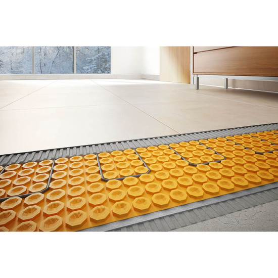 Schluter DITRA-HEAT-DUO great for covering large areas when installing floor heating cables to create a warm, luxurious tile floor