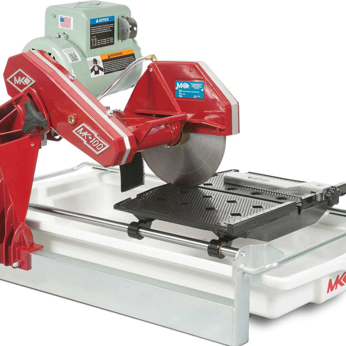 MK-100 Wet Tile Saw cutting table with rip guide