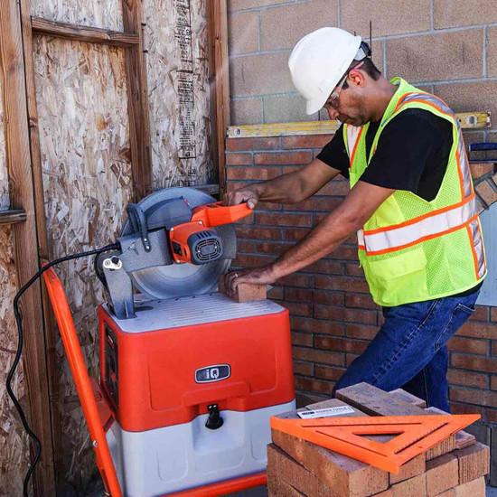 """iQ360XR Dust Control 14"""" Table Saw cutting brick"""