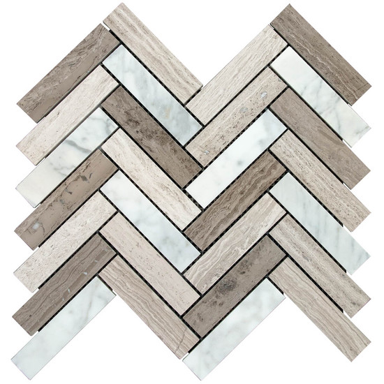 Interceramic Contemporary Blend 1 x 4 Herringbone Mosaic Polished Sheet