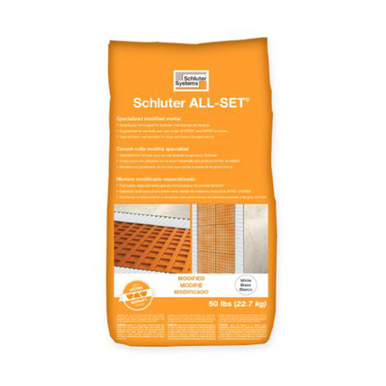Schluter ALL-SET Modified White Thinset, modified thin-set mortar specifically formulated for use with Schluter membranes and boards