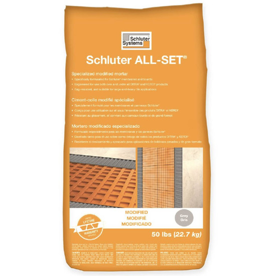 Schluter ALL-SET Modified Grey Thinset, modified thin-set mortar for use with Schluter membranes and boards