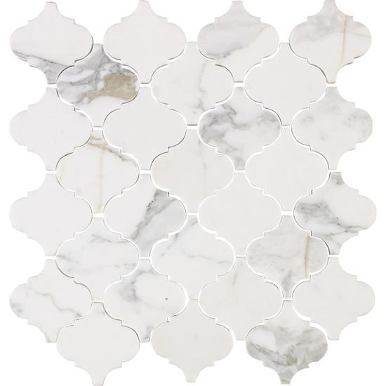 "Interceramic Marble Calacatta Gold 12""x12"" Lantern Polished Mosaic"