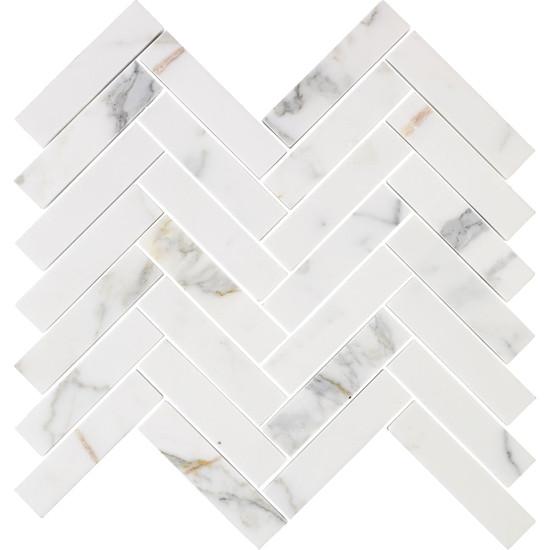 Calacatta Marble Herringbone Polished Mosaic Tile