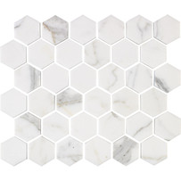 "Interceramic Marble Calacatta Gold 2"" x 2"" Hexagon Polished Mosaic"