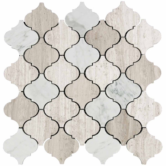 "Marble Contemporary Blend 2"" x 2"" Lantern Polished Mosaic"