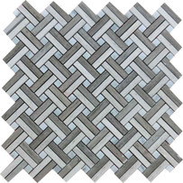 "Interceramic Marble Contemporary Blend Lattice Basketweave Polished Mosaic 12"" x 12"" Sheet"