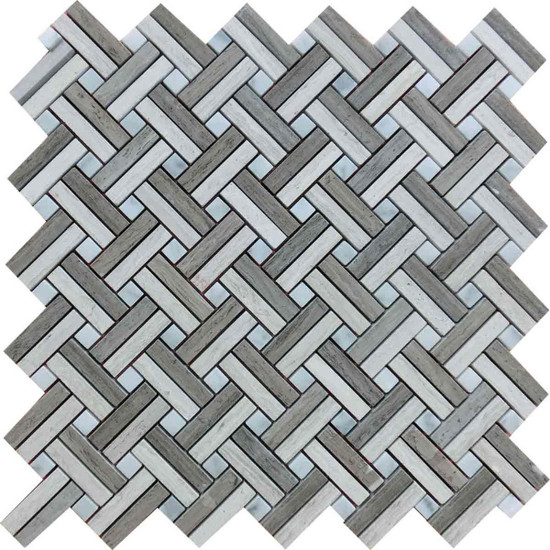 "Interceramic Marble Contemporary Blend Lattice Basketweave Polished Mosaic 12"" x 12"" Sheet"