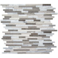 "Interceramic Marble Contemporary Blend Sticks Hi/Lo Mosaic 12"" x 12"" Sheet"