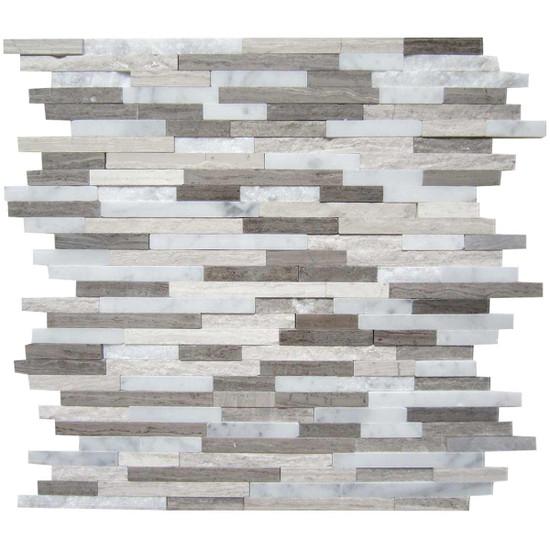 "Interceramic Marble Contemporary Blend Sticks Hi/Lo Mosaic 12"" x 12"" Sheet"