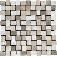 "Interceramic Marble Contemporary Blend 1"" x 1"" Hi/Lo Mosaic 12"" x 12"" Sheet"