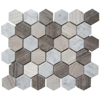 "Interceramic Marble Contemporary Blend 2"" x 2"" Hexagon Mosaic Polished 12"" x 12"" Sheet"
