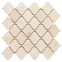 "Interceramic Marble Crema Marfil Lantern Mosaic Polished 12"" x 12"" Sheet"
